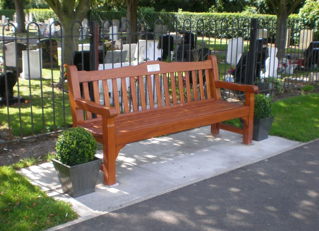 Example of a Memorial Bench in the Lawn Cemetery